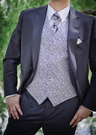Photo for Elegant purple groom's suit close up with a vest & a tie - Royalty Free Image