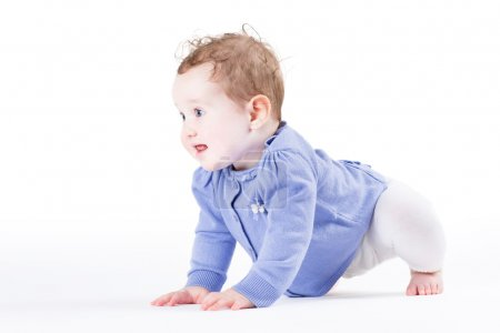 Girl learning to crawl