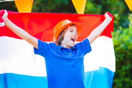 Dutch football fan, little boy cheering