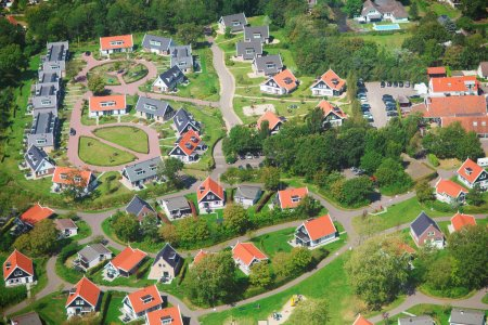 Photo for Aerial view of a residential community, village of Haamstede, Netherlands, photo taken from above during a helicopter from air - Royalty Free Image