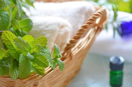 Photo pour Bain d'herbes aux huiles essentielles - image libre de droit