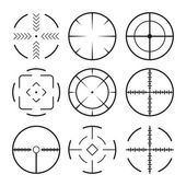 Set of black crosshairs icons. Isolated on white