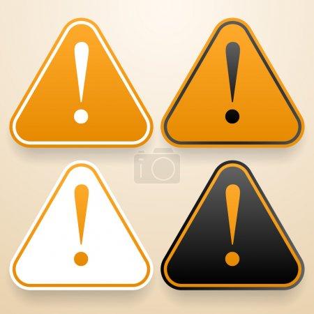 Set of triangular signs of danger of white, black and orange color. Warning sign