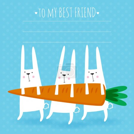 Illustration for Happy easter greeting card. Vector illustration with cute rabbits and carrot. - Royalty Free Image