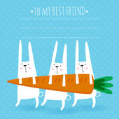 Happy easter greeting card Vector illustration with cute rabbits and carrot