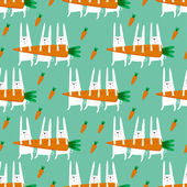 Seamless vector pattern with rabbits and carrots