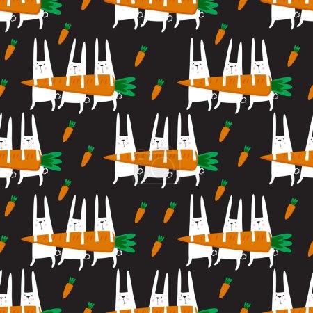 Illustration pour Modèle vectoriel sans couture avec des lapins et des carottes. - image libre de droit