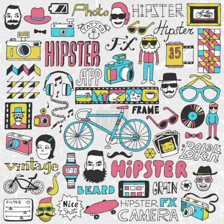 Illustration for Hipster lifestyle colorful doodle set. Hand drawn illustration. - Royalty Free Image