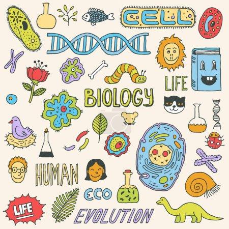 Illustration for Biology doodles. Hand drawn illustration. - Royalty Free Image