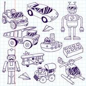 Hand drawn doodle boys toys set