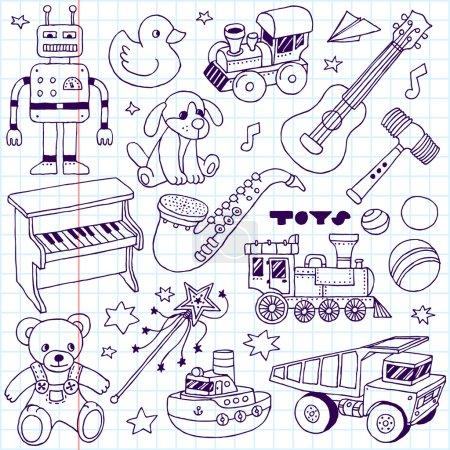 Photo pour Ensemble de jouets dessinés à la main 2. Illustration de carnet scolaire . - image libre de droit
