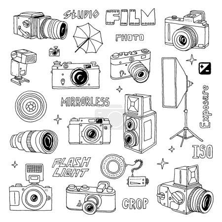 Illustration pour Illustration de jeu de griffes photographiques dessinées à la main . - image libre de droit