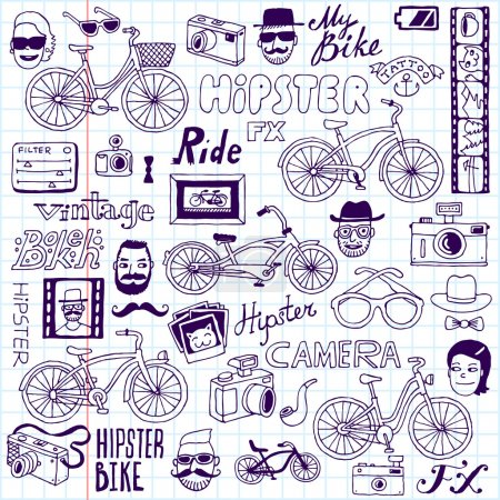 Hipsters and bikes set.