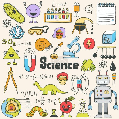 Photo for School science doodle set.  Hand drawn illustration. - Royalty Free Image