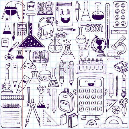 Illustration for School supplies. Hand drawn illustration. School Notebook. - Royalty Free Image