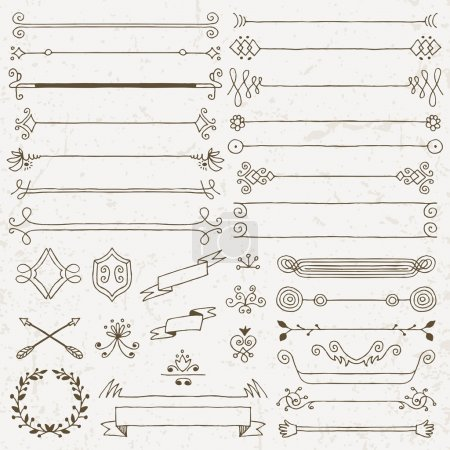 Vintage hand drawn design elements set