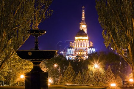Church illuminated at night in Kharkov, Ukraine...