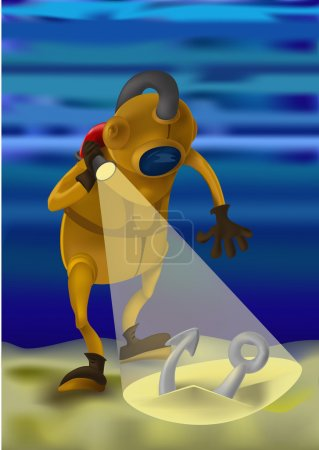 Illustration for Professional diver knows the depths of the ocean, full of astonishing secrets and adventures. He had the good fortune she found an anchor. Can be used to illustrate the diver of the day - Royalty Free Image