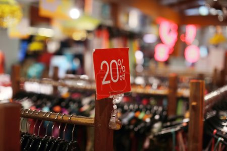 sale sign in a clothing store