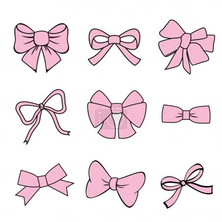 Pink bows on white background