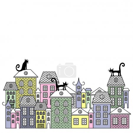 Vector illustration poster with houses and cats.
