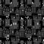 Seamless houses city theme vintage style illustration background pattern in vector