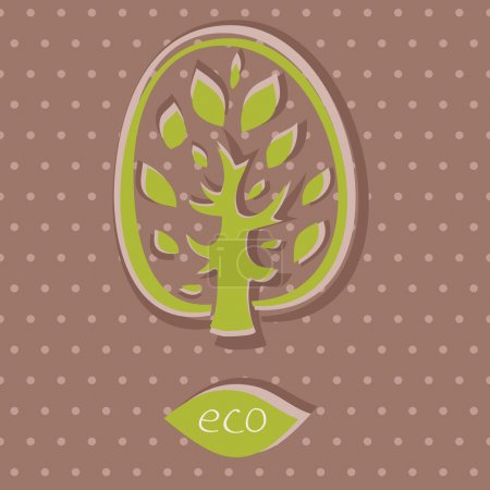 Eco card on polka dot background