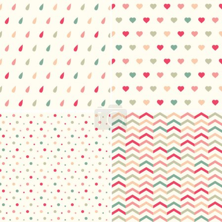 Illustration for Set of cute vector pattern (polka dot, geometric, drops, heart) - Royalty Free Image