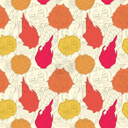 Illustration for Vector abstract pattern with exotic fruits. Vector seamless tropical pattern - Royalty Free Image
