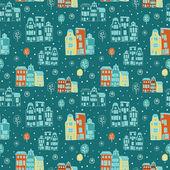Winter city pattern in vector