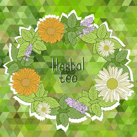 Illustration for Vector menu card. Vector card with herbal tea sign, flower wreath on the green triangle background. - Royalty Free Image