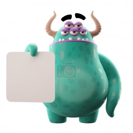 Photo for Cute funny 3D green five-eyes cartoon monster with horns with white paper in hands isolated on white background - Royalty Free Image