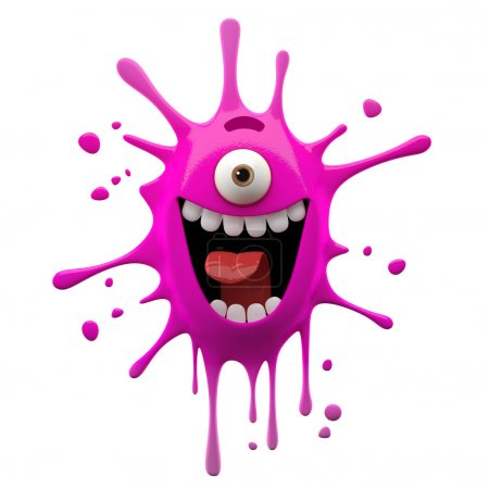 Photo for 3d crazy very happy exciting smiling pink one-eyed monster isolated on white background - Royalty Free Image