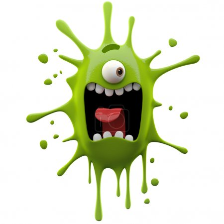 Photo for 3d crazy glaring green one-eyed monster isolated on white background - Royalty Free Image