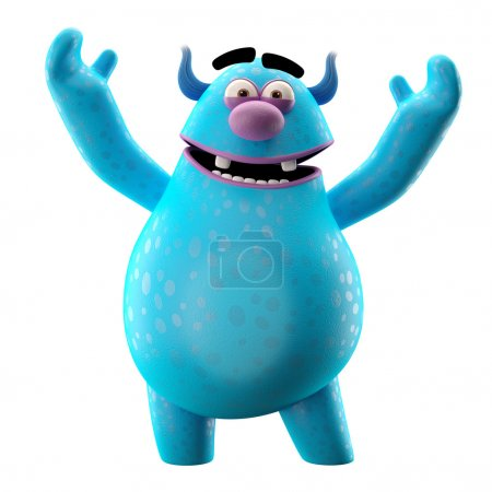 Photo for Funny 3D blue monster waving hands, merry cartoon isolated on white background - Royalty Free Image