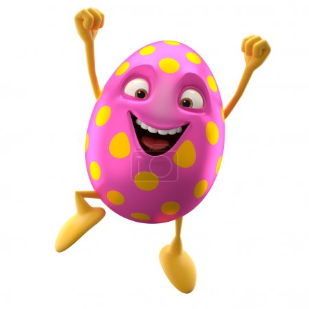 Pink Easter egg jumping with compressed fist