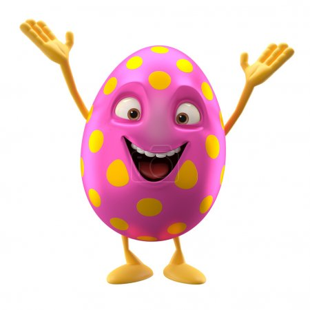 Cartoon pink Easter egg with hands up