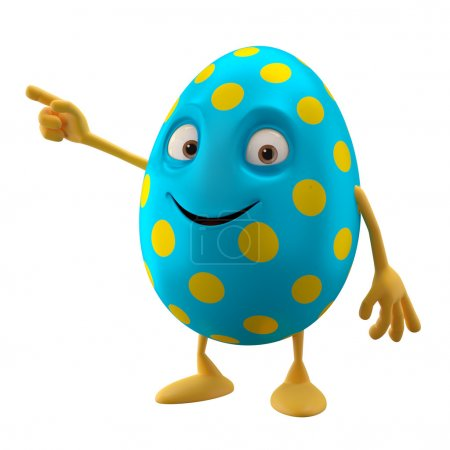 Blue funny Easter egg pointing by hand