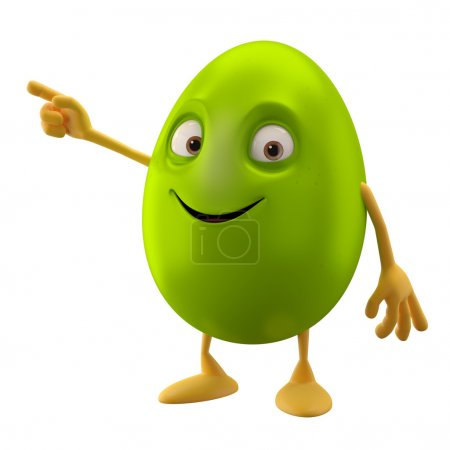 Blank smiling green Easter egg pointing by hand