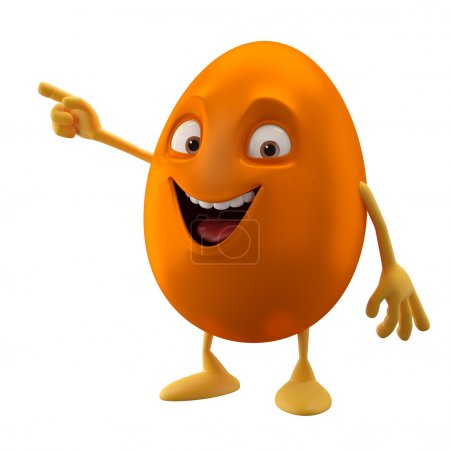 Blank smiling orange Easter egg pointing by hand