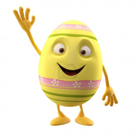 Easter yellow egg with hand up