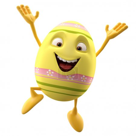 Easter yellow egg jumping