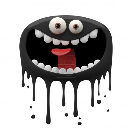 Photo for 3d cartoon two-eyed black laughing monster isolated on white background - Royalty Free Image