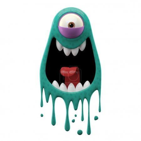 One-eyed screaming cyan monster