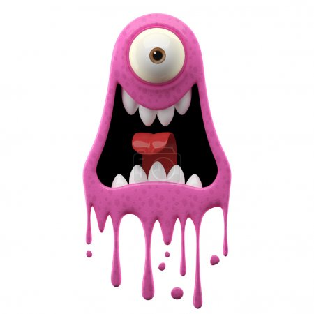 One-eyed screaming pink monster