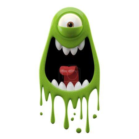 One-eyed screaming green monster