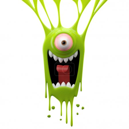 Photo for 3d cartoon round dangle one-eyed green screaming monster isolated on white background - Royalty Free Image