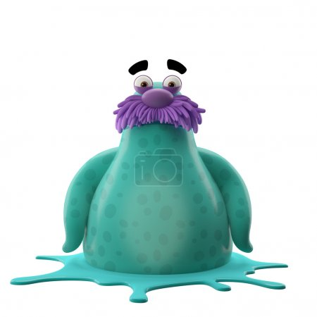 Photo for 3D cartoon cyan walrus isolated on white background - Royalty Free Image