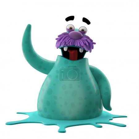 Photo for 3D cartoon cyan walrus with one hand up isolated on white background - Royalty Free Image