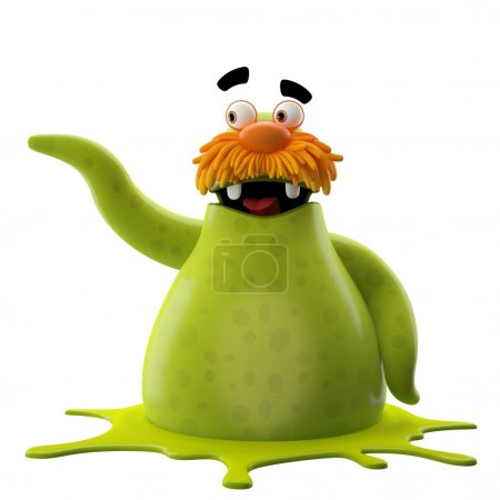 Photo for 3D cartoon green walrus pointing sideward isolated on white background - Royalty Free Image